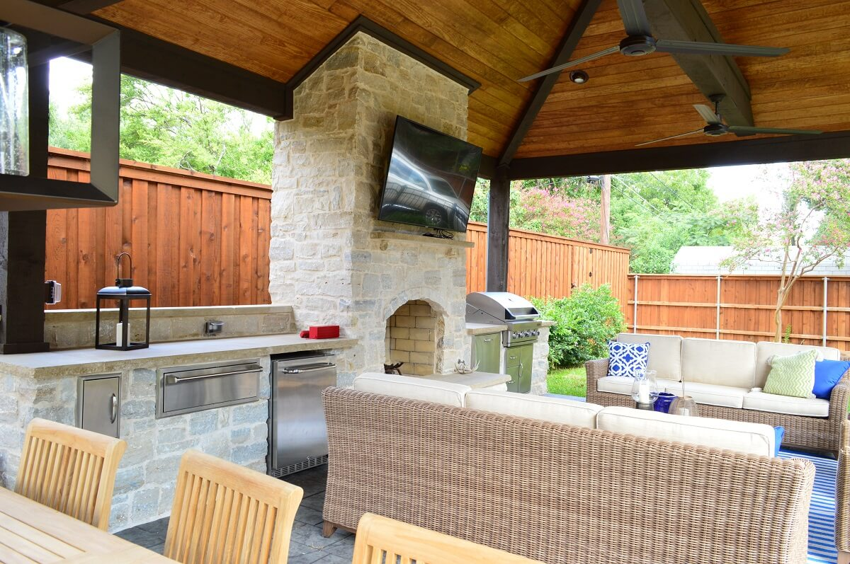 Outdoor Living Area With Covered Kitchen